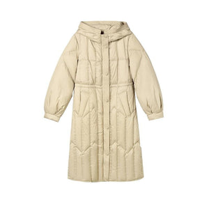 Buy Cheap Medium Long White Duck Down Lantern Sleeve Female Jacket Online - Hplify