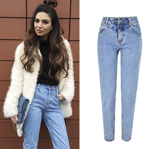The Best New Fashion High Waist Boyfriend Jeans Women Casual Straight Jean Online - Hplify