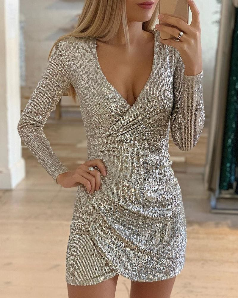 The Best New Fashion Long Sleeve Sequin Deep V-neck women slim fit mini dress Online - Source Silk