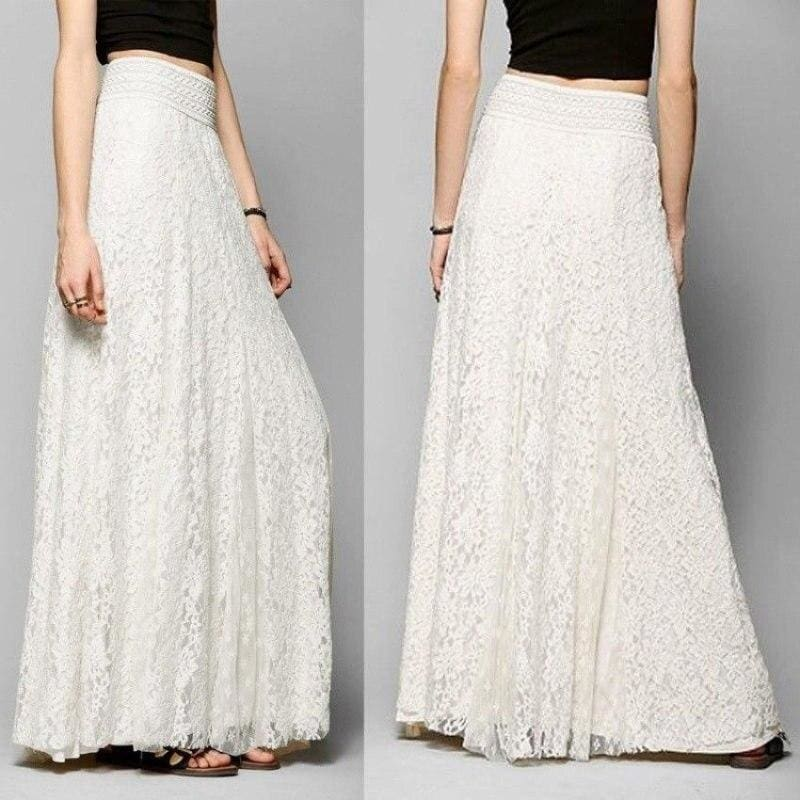 The Best New Fashion Women High Waist Beach Skirt Stretchy Double Lace Layer Chiffon Maxi Casual Long Skirt Summer Beach Sundress Online - Source Silk
