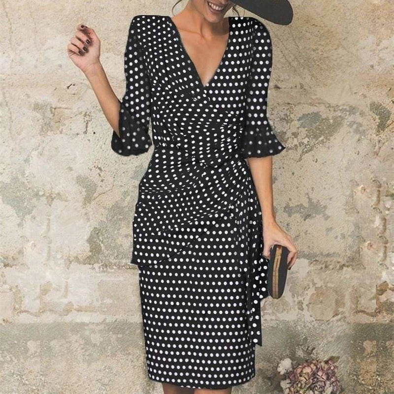 The Best New Flare Sleeve Women Midi Pencil Dress V-neck High Waist Plus Size Online - Source Silk