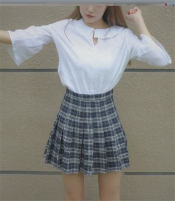The Best New Japanese lattice skirt high waist pleated was thin A-Line skirt Online - Source Silk