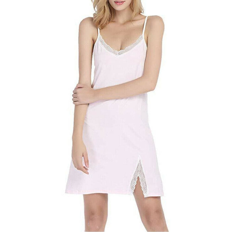 The Best New Women Sleeveless V-Neck Lace Robe Dress Babydoll Nightwear Sleepwear Solid Casual Daily Nightdress Online - Hplify
