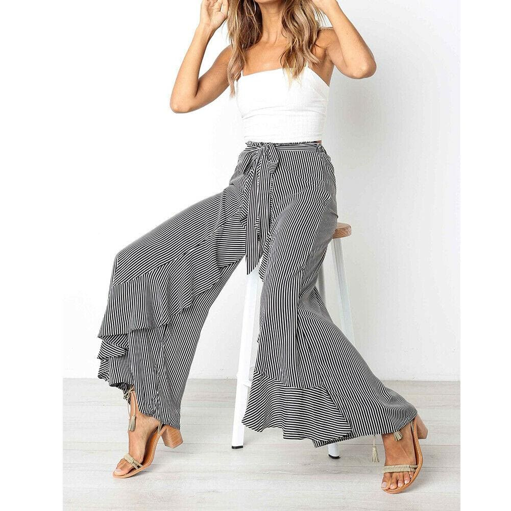 The Best New Women Striped Baggy Harem Pants Hippie Wide Leg Gypsy Boho Long Palazzo Bow Tie High Wais Ruffle Loose Trouser Online - Source Silk