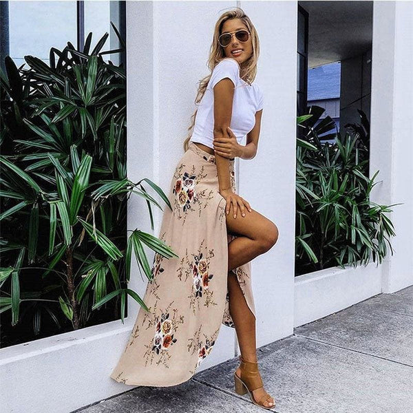 The Best New Women Summer Hight Waist Maxi Skirt Ladies Fashion Pleated Beach Long Casual Boho Floral Skirt Sundress Online - Hplify