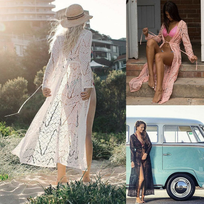 The Best New Women Summer Long Sleeve Open Front Lace Cardigan Tops Blouse Holiday Beach Dress Bikini Cover Up Casual Outwear Online - Hplify