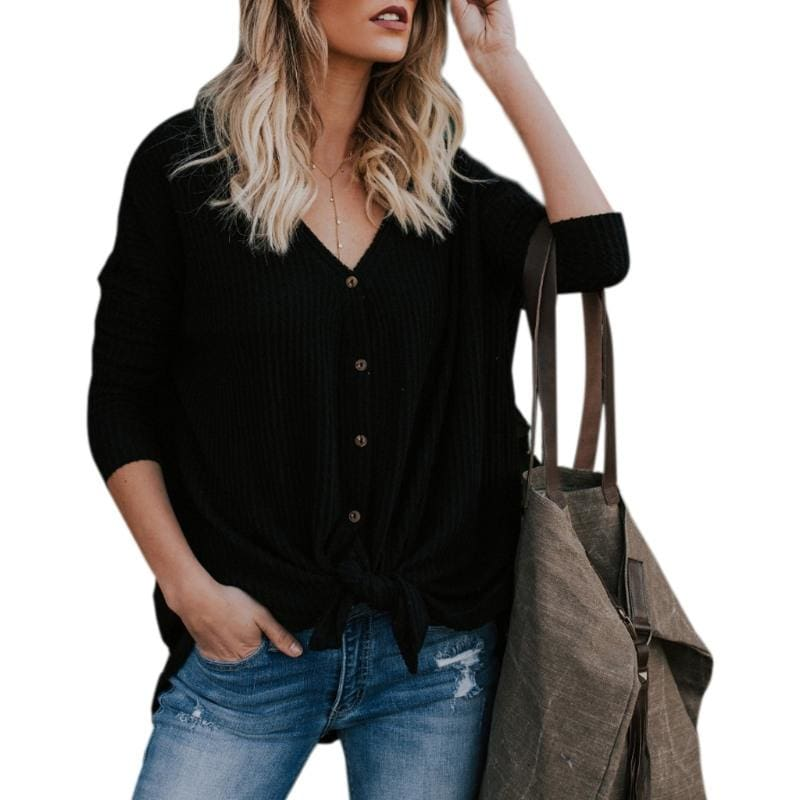 The Best New Women Sweaters Tie Front Button Down Knit Jumper Long Sleeve Shirts Online - Hplify