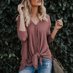New Women Sweaters Tie Front Button Down Knit Jumper Long Sleeve Shirts - Women Sweaters