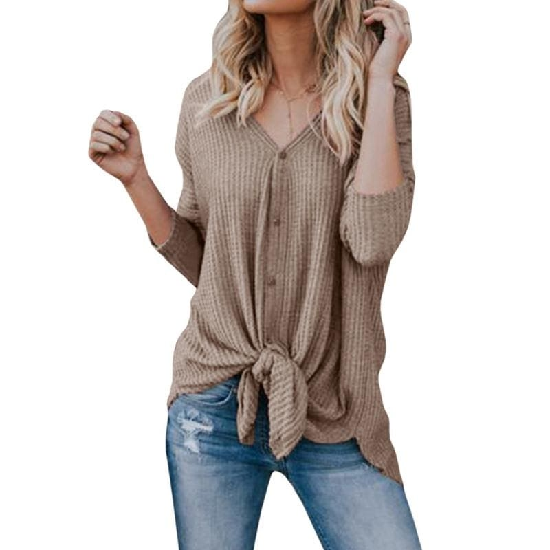 New Women Sweaters Tie Front Button Down Knit Jumper Long Sleeve Shirts - KH / L - Women Sweaters