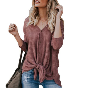 New Women Sweaters Tie Front Button Down Knit Jumper Long Sleeve Shirts - WR / XL - Women Sweaters
