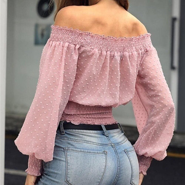 The Best New Women's Off Shoulder Bodycon Ladies Tops Bubble Long Sleeve Summer Casual Tops Tee Shirt Streetwear Outwear Online - Hplify