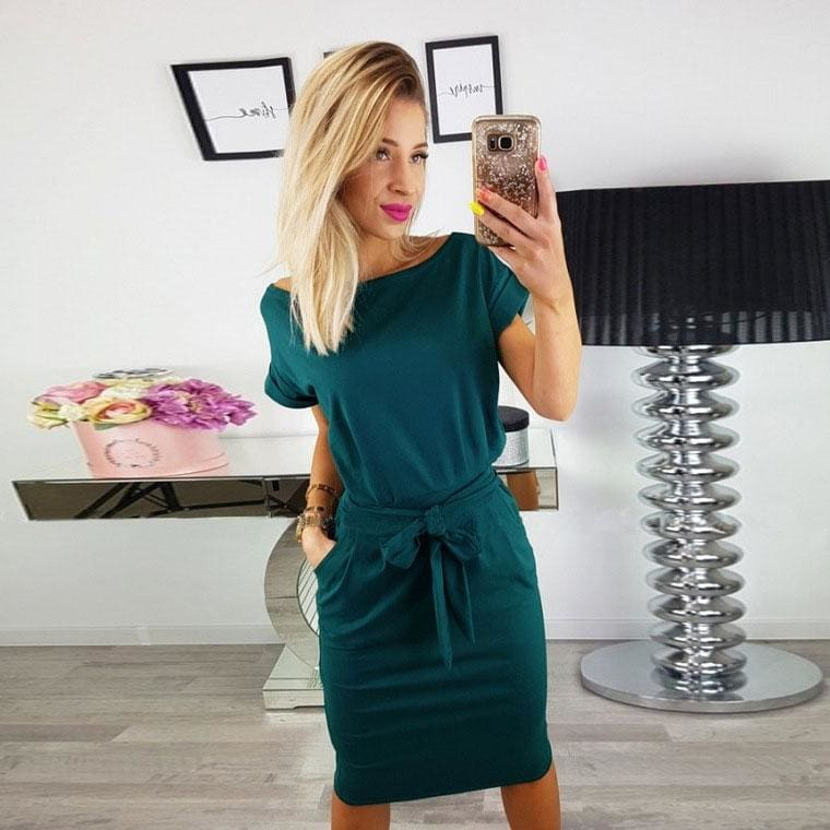 The Best O-neck Short Sleeves Lacing Dresses Women Casual Pockets Simple Dress Online - Hplify