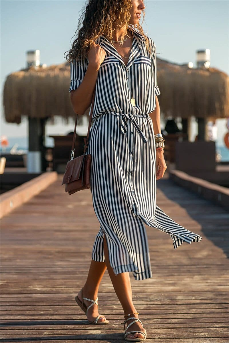 The Best Office Ladies Stripe Shirt Dress Chiffon Casual Long Sleeve Dress Online - Source Silk
