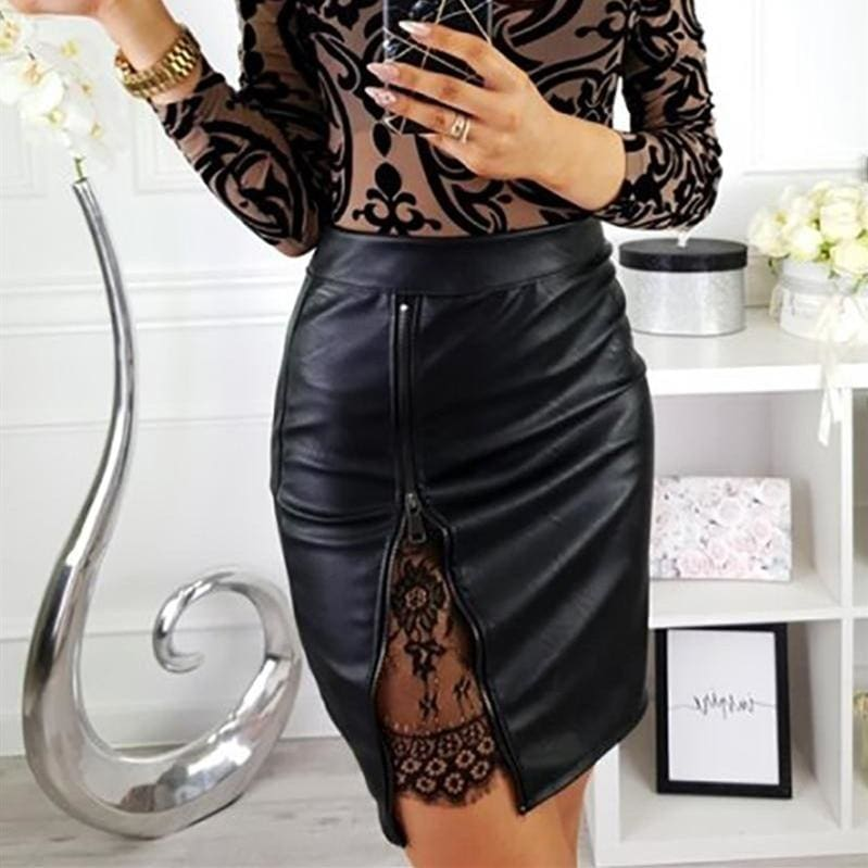 Buy Cheap OL Formal Lace Patchwork Bodycon Skirts High Waist Zipper PU Leather Skirts Online - Hplify