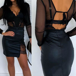 OL Formal Lace Patchwork Bodycon Skirts High Waist Zipper PU Leather Skirts - Hplify