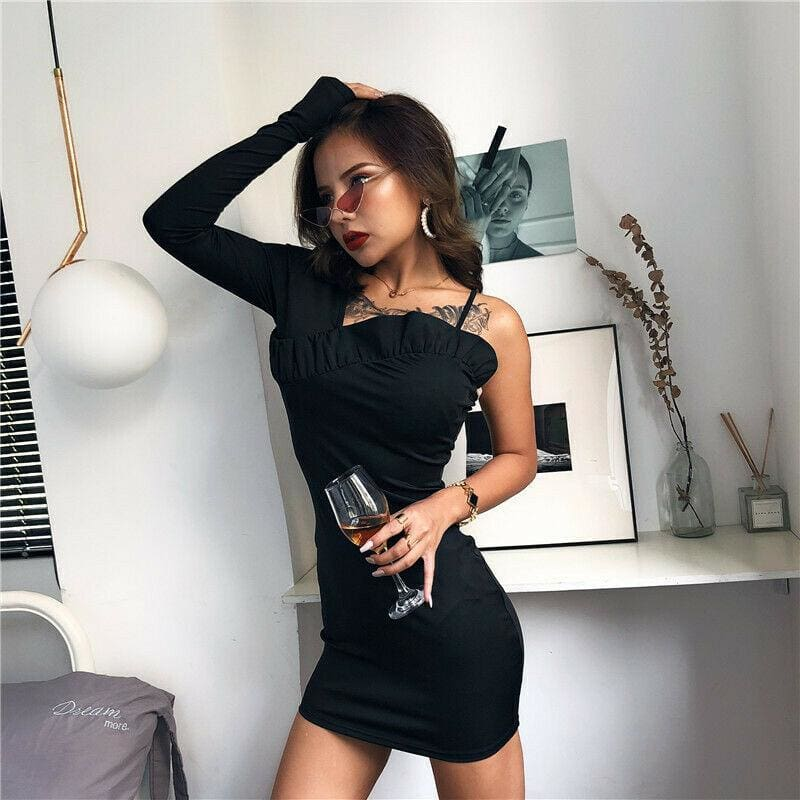 The Best One Shoulder Long Sleeve Bodycon Mini Dress Sexy Ladies Evening Party Clubwear Solid Slim Pencil Dress Online - Hplify