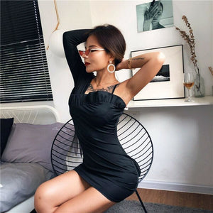 Buy Cheap One Shoulder Long Sleeve Bodycon Mini Dress Sexy Ladies Evening Party Clubwear Solid Slim Pencil Dress Online - Hplify