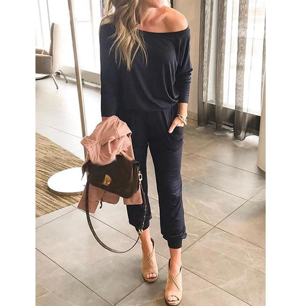 The Best One-Shoulder Long Sleeve Jumpsuit Lady Autumn Soft Loose Playsuit Bodycon Party Trousers Jumpsuit Online - Source Silk