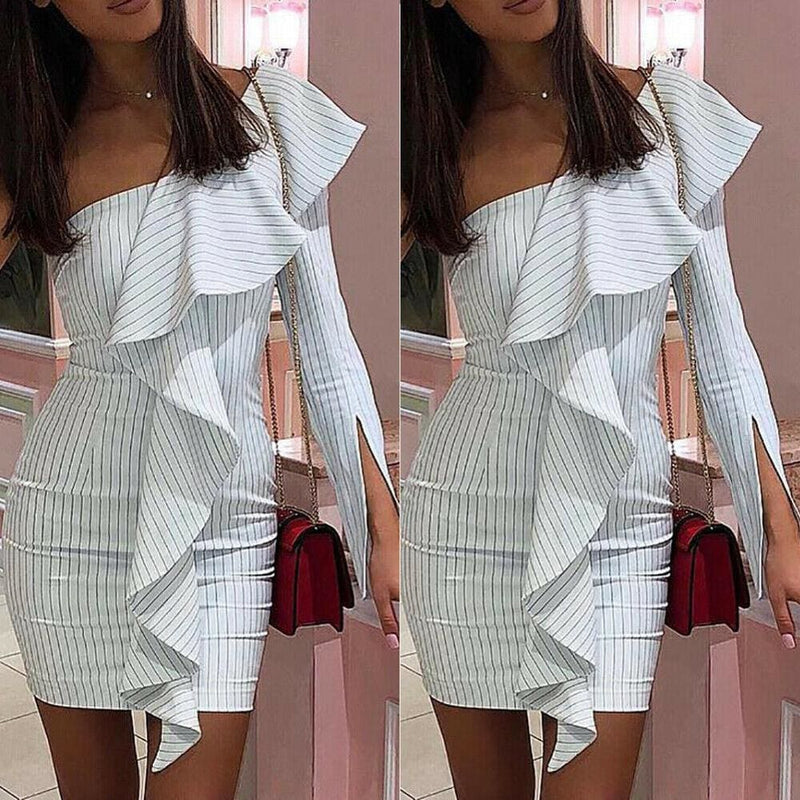 The Best One Shoulder Ruffle Striped Bodycon Dress Ladies Evening Party Short Mini Dresses Online - Hplify