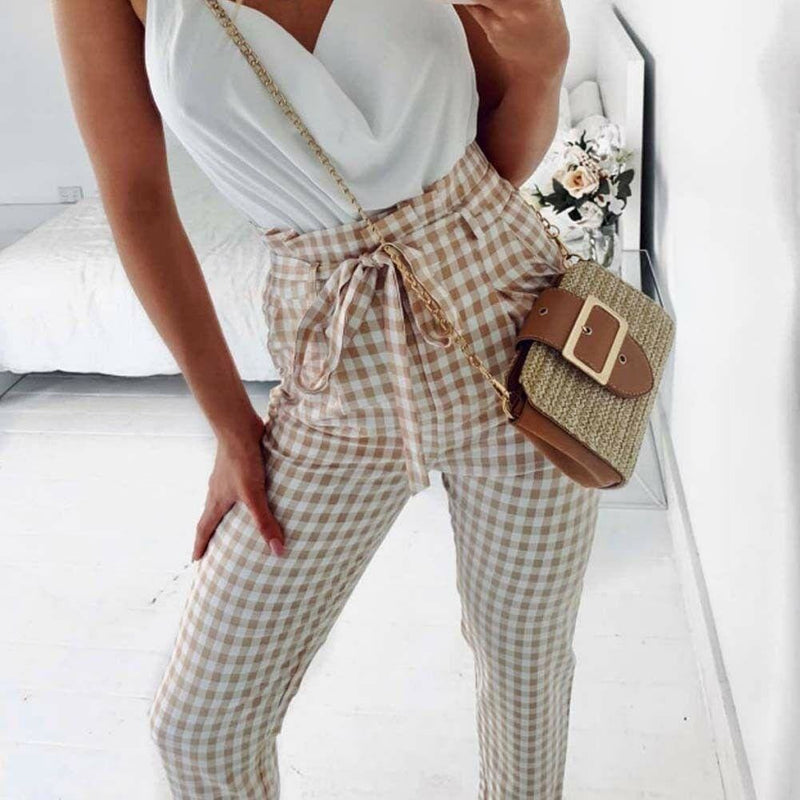 The Best Plaid Harem Pants Women Casual Sweatpants Jogger Fashion Bandage Ruffle High Waist Ankle Length Pants Trousers Online - Hplify