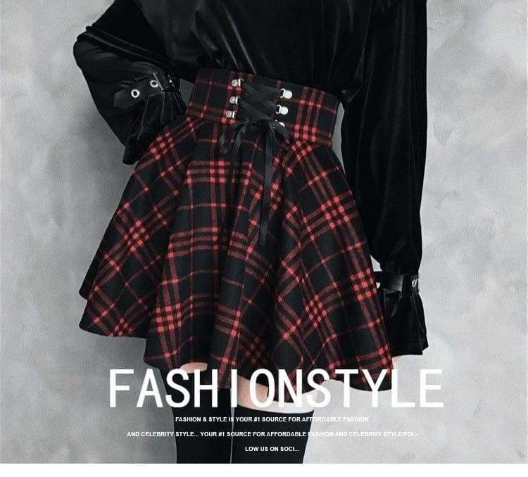 Buy Cheap Plaid Pleated Ball Gown High Waist Lace Up Wool Skirt Bottom Online - Hplify