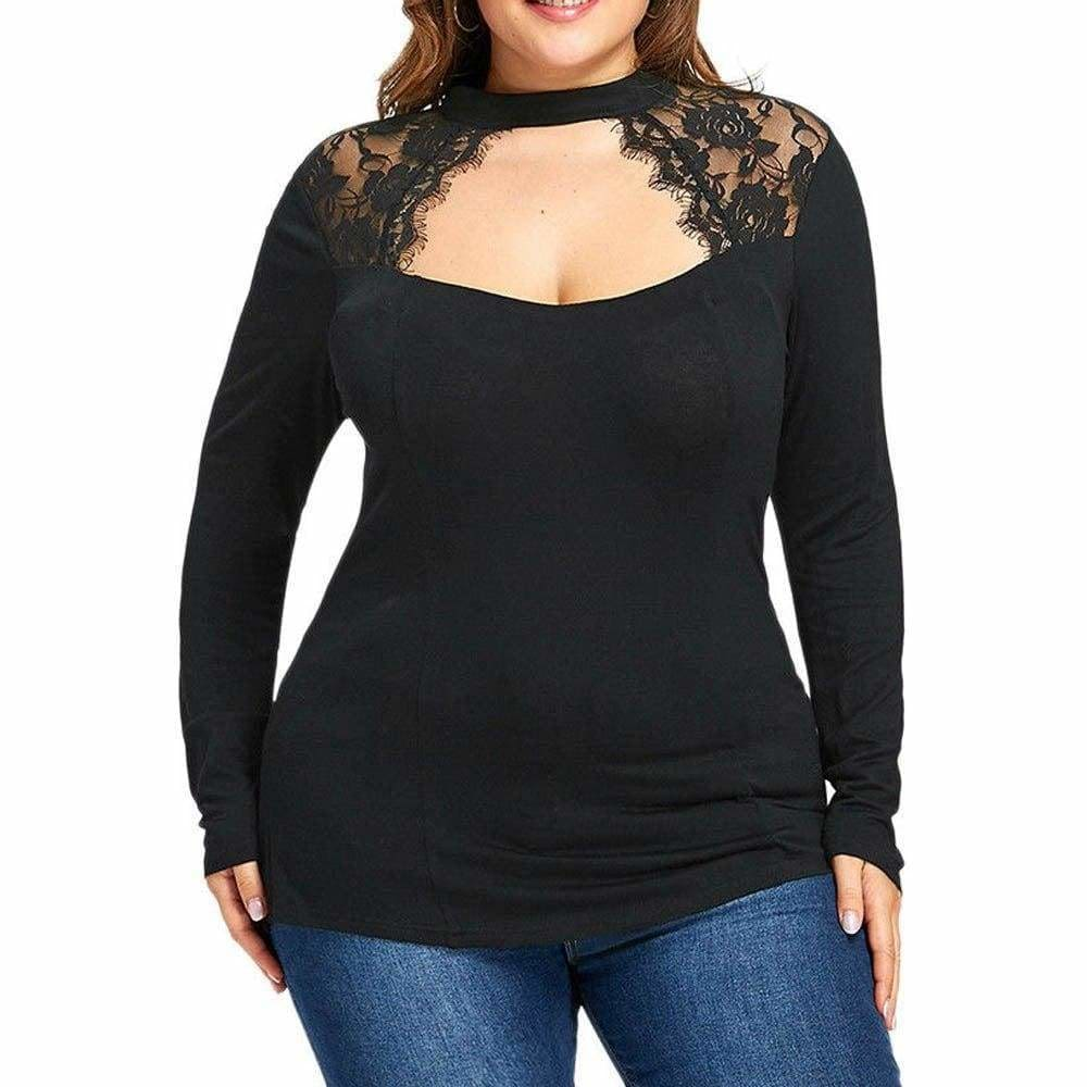 The Best Plus Size Lace Panel Keyhole Top Online - Source Silk