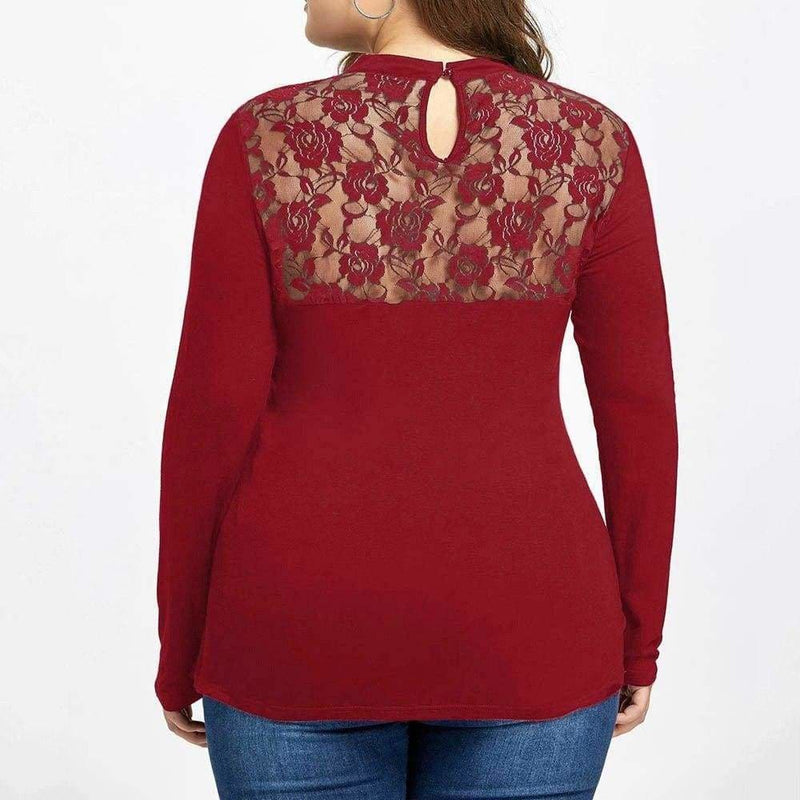 The Best Plus Size Lace Panel Keyhole Top Online - Hplify