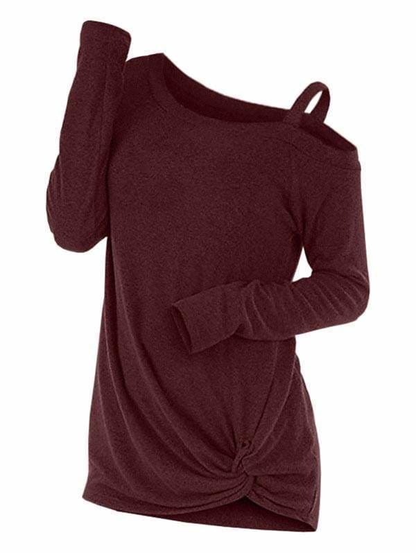 Plus Size Long Sleeve Tshirts One Shoulder T-Shirt - Womens T-Shirt