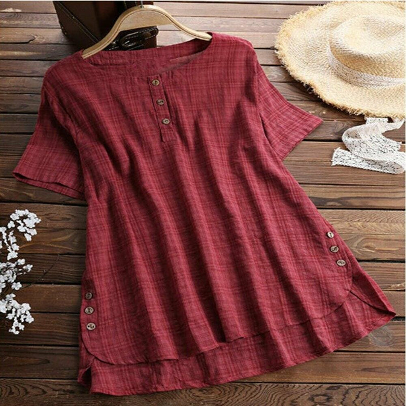 The Best Plus Size Women Summer Button Crew Neck Blouses Loose Baggy Tops Tunic Shirts Ladies Casual Solid Short Sleeve Blouse Online - Hplify