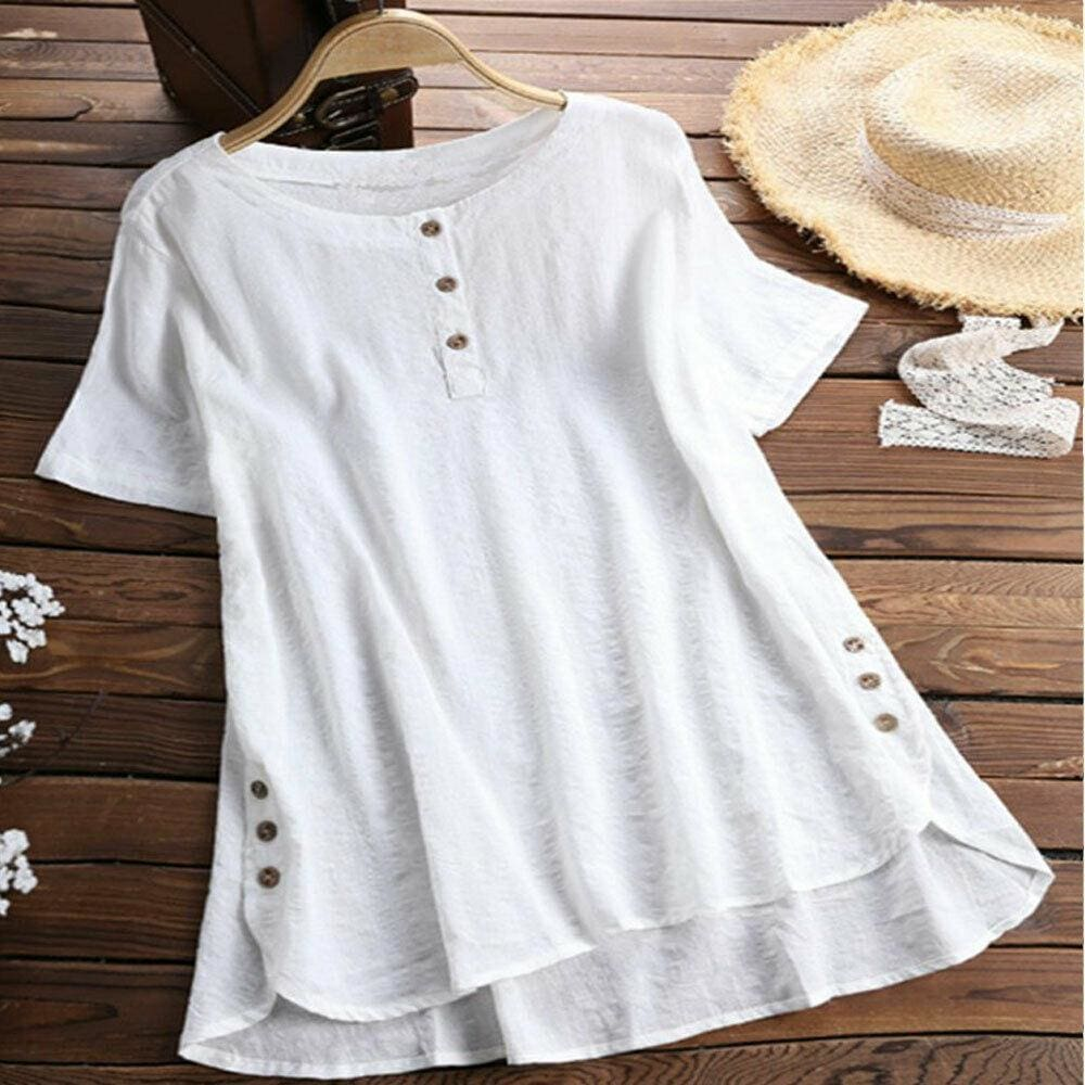 Plus Size Women Summer Button Crew Neck Blouses Loose Baggy Tops Tunic Shirts Ladies Casual Solid Short Sleeve Blouse - Tops