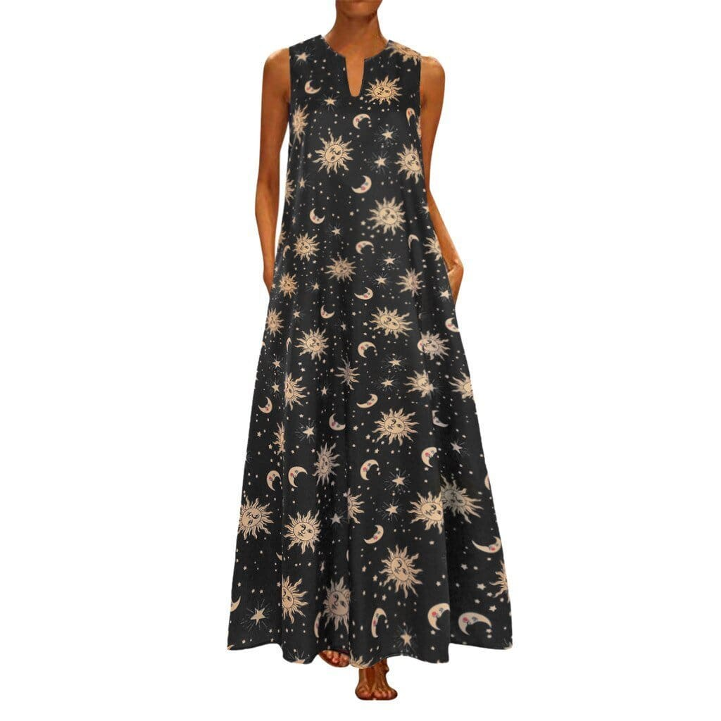 The Best Printed Bohemian Ethnic Style Beach Maxi Dress Online - Source Silk