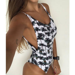 The Best Printing Floral One Piece Swimsuit Women Monokini Backless V-neck Push Up Padded Bikini Swimsuit Swimwear Bathing Suit Online - Hplify