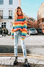 Rainbow Turtleneck Sweaters Women Fashion Striped Oversized Pullover - Pullovers