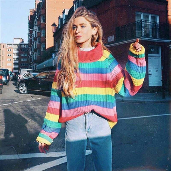 The Best Rainbow Turtleneck Sweaters Women Fashion Striped Oversized Pullover Online - Source Silk