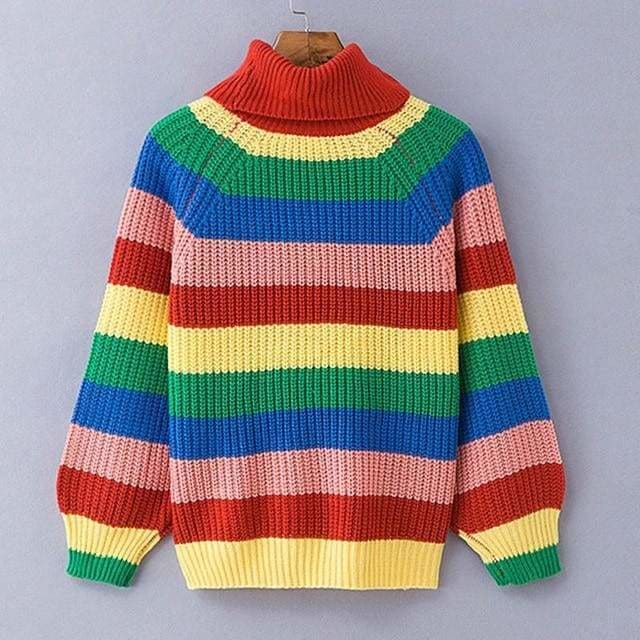 Buy Cheap Rainbow Turtleneck Sweaters Women Fashion Striped Oversized Pullover Online - Hplify