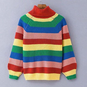 Rainbow Turtleneck Sweaters Women Fashion Striped Oversized Pullover - sweaters / S - Pullovers