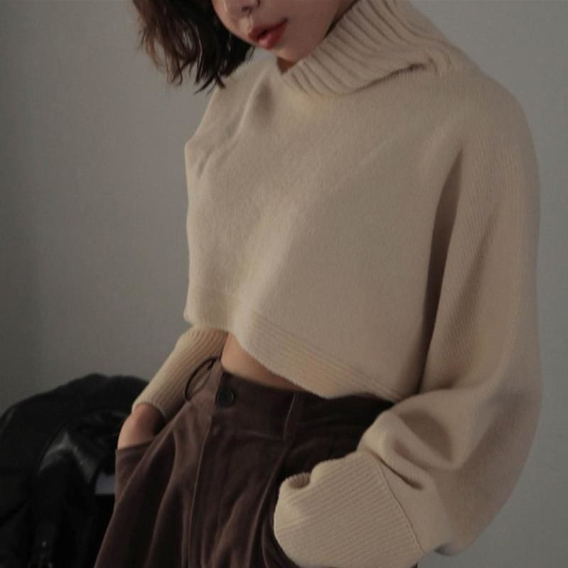 The Best Retro Turtleneck Women Sweater Long Sleeve High Waist Knitted Pullover Online - Hplify