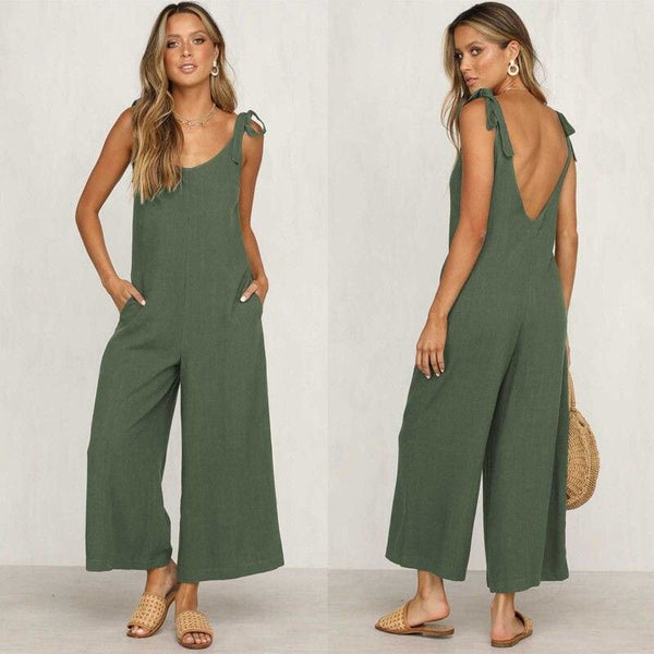The Best Rompers Summer Women Casual Loose Linen Cotton Jumpsuit New Sleeveless Backless Pocket Playsuit Trousers Overalls Online - Hplify