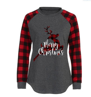 Buy Cheap Round Neck Plaid Christmas Ladies T-Shirt Online - Hplify