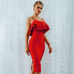 The Best Ruffled Sling Red Dress Ruffled Dresses for Women Online - Hplify