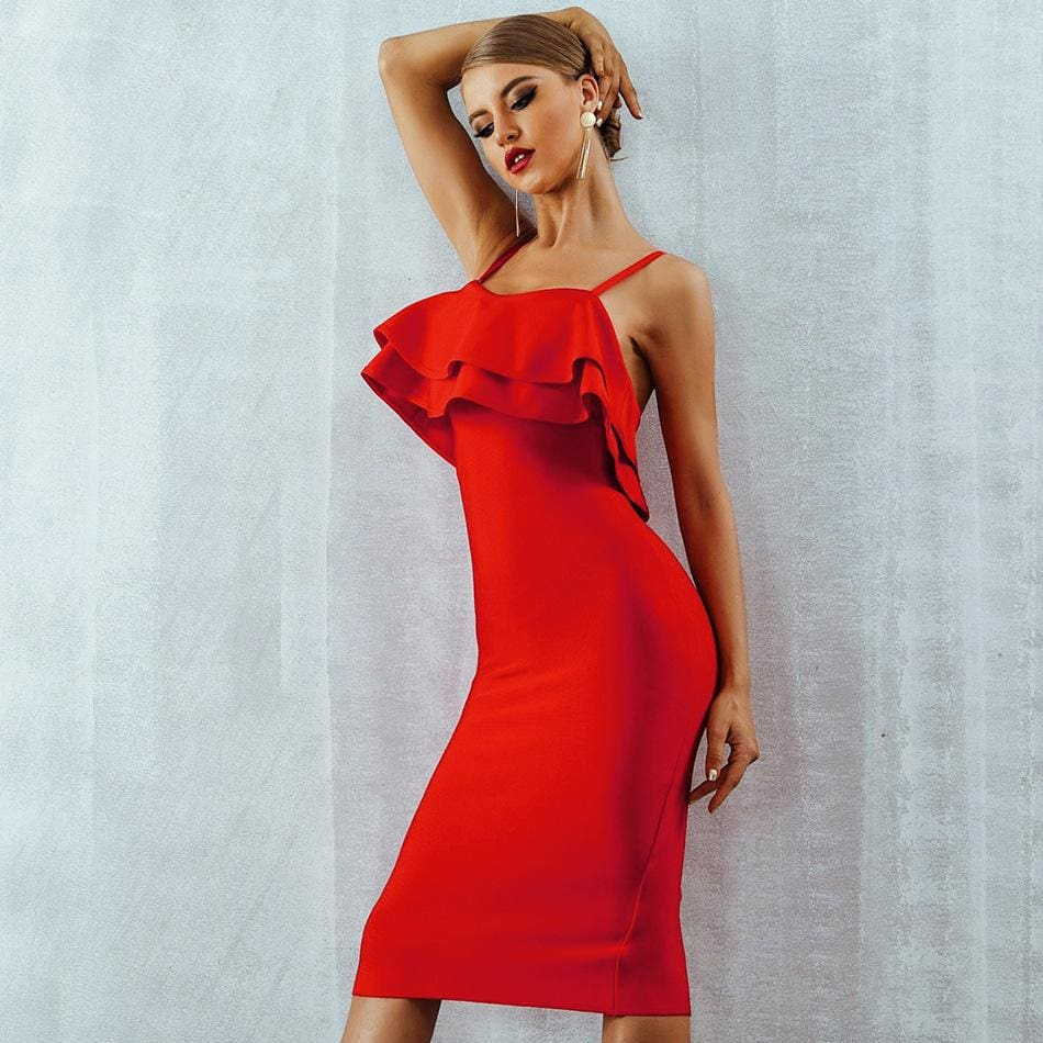 The Best Ruffled Sling Red Dress Ruffled Dresses for Women Online - Source Silk