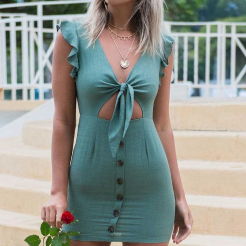 The Best Ruffles Bow Tie Hollow Out Summer Mini Dress Online - Source Silk