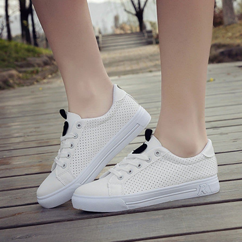Running Shoes For Women Lace-up Breathable Mesh Fitness Sports Shoes - Hplify
