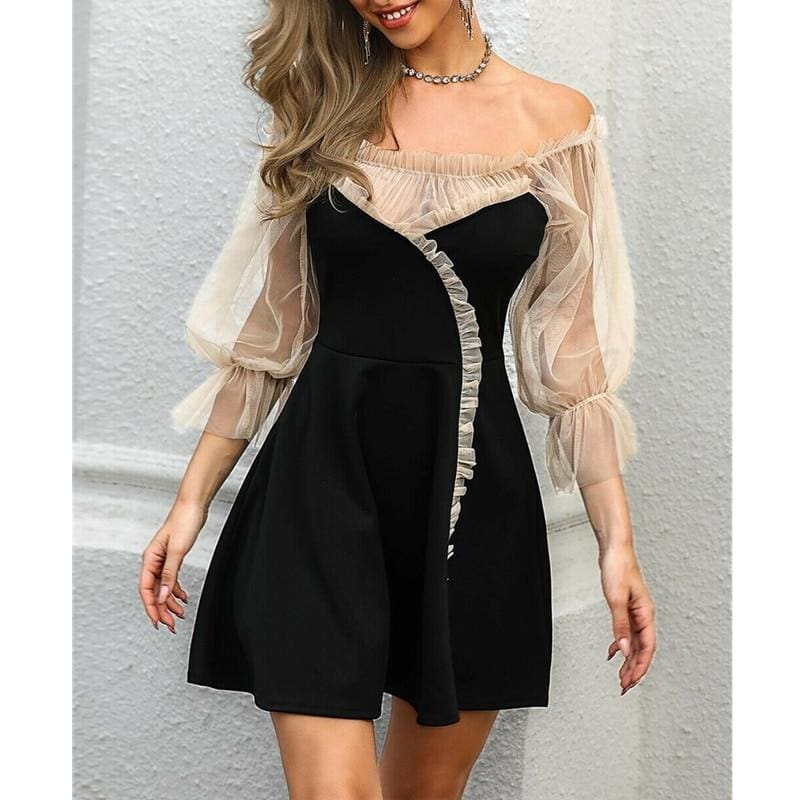 The Best Sexy Off Shoulder Lace Mesh Patchwork Puff Sleeve Casual Mini Dress Online - Hplify