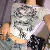 The Best Sexy Slim Dragon Print Transparent Summer Casual Tops Crop Short Online - Source Silk