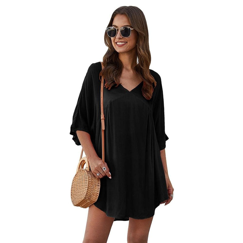The Best Short Sleeve Tunic Top Pullover Ladies Casual Solid Loose Jumper Blouse Tee Shirt Online - Hplify