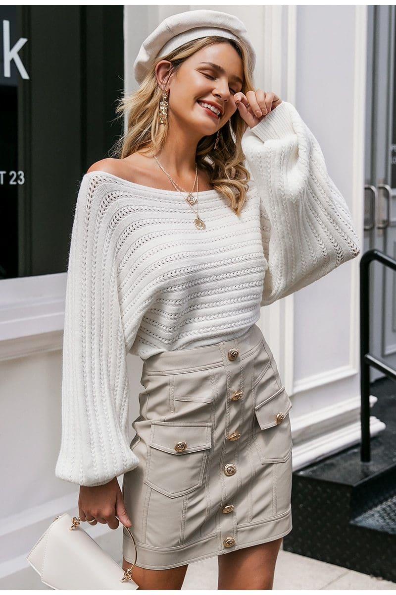 The Best Simple off shoulder knitting pullover Lantern long sleeve women sweater Online - Source Silk