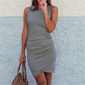 Buy Cheap Sleeveless Mini Ruched Dress Women Dress Streetwear Plus Size Online - Hplify