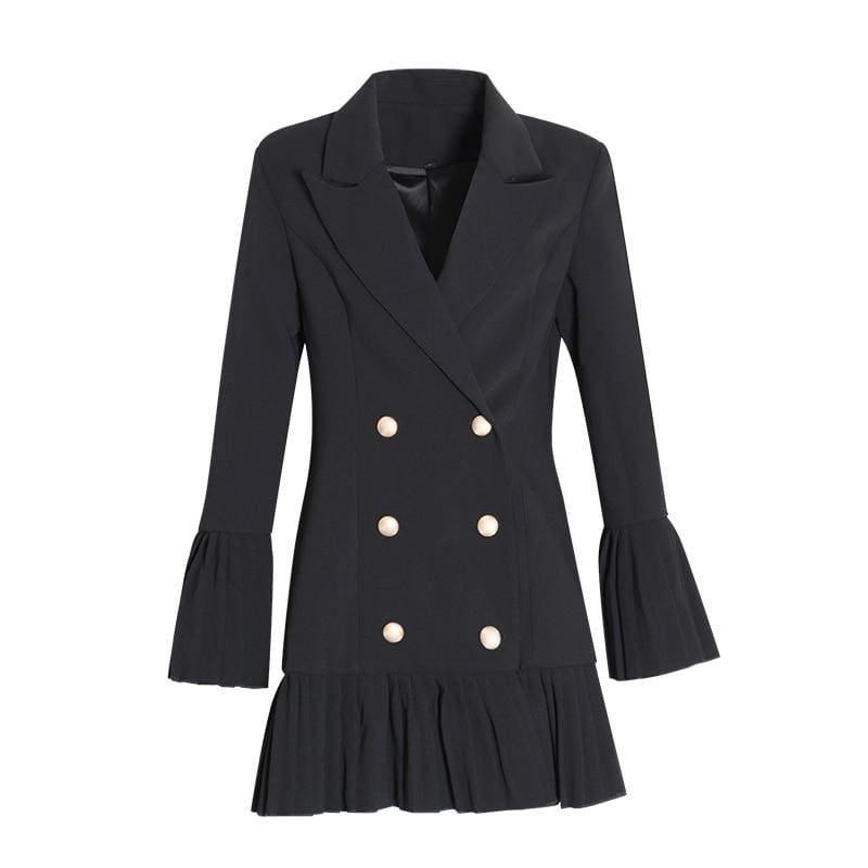 The Best Slim Patchwork Coats For Women Lapel Collar Long Sleeve Jacket Online - Source Silk