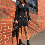 Buy Cheap Slim Patchwork Coats For Women Lapel Collar Long Sleeve Jacket Online - Hplify